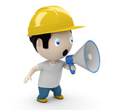 Announcement! Social 3D characters. Man shouting into megaphone making loud noise. New constantly growing collection of expressive unique multiuse people images stock illustration