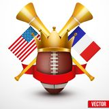 Announcement Sporting Poster with Football Ball. Royalty Free Stock Photography