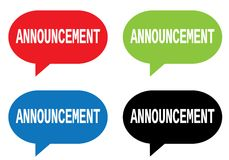 ANNOUNCEMENT text, on rectangle speech bubble sign. Stock Photography