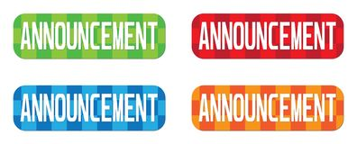 ANNOUNCEMENT text, on rectangle, zig zag pattern stamp sign. Stock Image