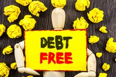 Announcement text showing Debt Free. Concept meaning Credit Money Financial Sign Freedom From Loan Mortage written on Sticky Note. Announcement text showing Debt Stock Photo