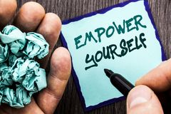 Announcement text showing Empower Yourself. Business concept for Positive Motivation Advice For Personal Development written on No. Announcement text showing Royalty Free Stock Photography