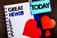 Announcement text showing Great News. Concept meaning Success Newspaper Information Celebration written on notebook book paper on Stock Image