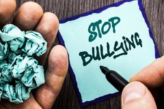 Announcement text showing Stop Bullying. Business concept for Awareness Problem About Violence Abuse Bully Problem written on Note. Announcement text showing Stock Images