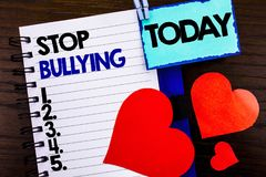 Announcement text showing Stop Bullying. Concept meaning Awareness Problem About Violence Abuse Bully Problem written on notebook. Announcement text showing Stop Stock Images