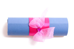Announcement on wedding. Announcement wedding roll paper bow silk burned crystall Stock Image