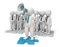Announcements - 3d Business team leader. Team leader standing on a blue puzzle making an announcement through a megaphone in the name of his people Royalty Free Stock Photo