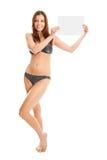 announcent bikini κορίτσι που κάνει προ&k Στοκ Εικόνες