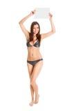 announcent bikini κορίτσι που κάνει προ&k Στοκ Εικόνα