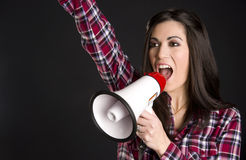 Announcer Woman Talks to Consumers Thru Megaphone Stock Images