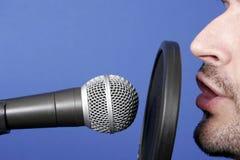 Announcer. Man recording voice in professional audio studio Royalty Free Stock Photo