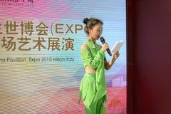 Announcer outside China Pavilion, EXPO 2015 Milan Stock Photos