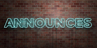 ANNOUNCES - fluorescent Neon tube Sign on brickwork - Front view - 3D rendered royalty free stock picture Stock Images