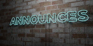 ANNOUNCES - Glowing Neon Sign on stonework wall - 3D rendered royalty free stock illustration Stock Image