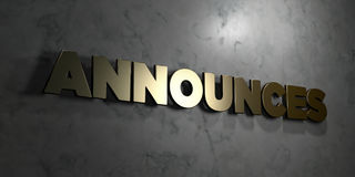 Announces - Gold text on black background - 3D rendered royalty free stock picture Stock Photography