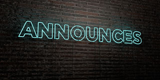 ANNOUNCES -Realistic Neon Sign on Brick Wall background - 3D rendered royalty free stock image Royalty Free Stock Image