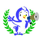 Announcing Bird. Announcing Blue Bird with Horn in green olive branch royalty free illustration