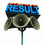 Announcing the result. Declaration of result or outcome, concept with text on a loudspeaker pole Royalty Free Stock Photo