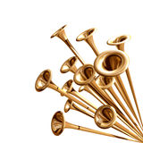 Announcing trumpets Stock Photos