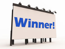 Announcing winner. The winner announced on a large billboard with lights, 3d render on white background Royalty Free Stock Photo