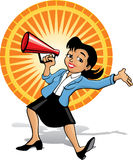 Announcing woman. Color cartoon of a woman holding a megaphone announcing something vector illustration