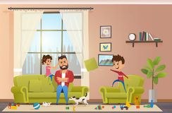 Mad Father at Home with Naughty Children Vector royalty free illustration