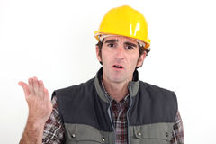 Annoyed builder. Has had enough Royalty Free Stock Image