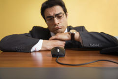 Annoyed businessman. People at work: annoyed businessman ...looking for inspiration Stock Photo