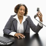Annoyed businesswoman. Stock Photo