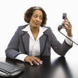 Annoyed businesswoman. stock photo