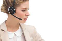 Annoyed call center agent Stock Image