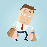 Annoyed cartoon man carrying bags Stock Photo