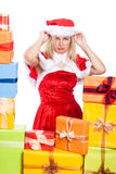 Annoyed Christmas woman Stock Photos