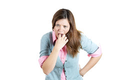 Annoyed, frustrated and fed up sticking her finger in her throat showing she is about to throw up Royalty Free Stock Photos