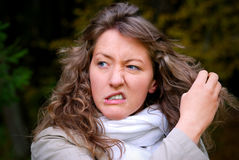 Annoyed girl. Tears her hair Royalty Free Stock Photography