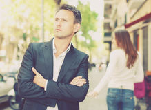 Annoyed guy after quarrel Royalty Free Stock Photo