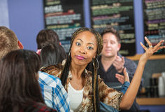 Annoyed Lady in Cafe Stock Images