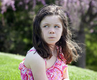 Annoyed little girl royalty free stock photo