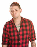 Annoyed Male in Flannel Shirt Stock Images