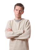 Annoyed man. Young annoyed man isolated over white background stock images