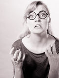 Annoyed nervous woman portrait. Stock Photo
