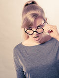 Annoyed nervous woman portrait. Royalty Free Stock Images