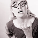 Annoyed nervous woman portrait. Stock Photography