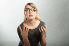 Annoyed nervous woman portrait. Stock Image