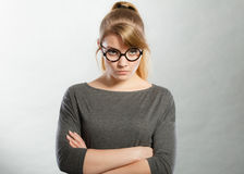 Annoyed nervous woman portrait. Stock Photography