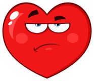 Annoyed Red Heart Cartoon Emoji Face Character With Grumpy Expression Stock Image