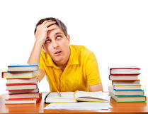 Annoyed Student with the Books Royalty Free Stock Photo