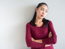 Annoyed and unhappy woman. Stock Photo