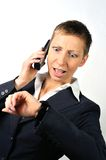 Annoyed woman with a phone 2 Royalty Free Stock Image