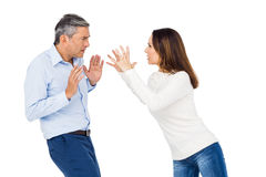 Annoyed woman yelling at husband Stock Photo